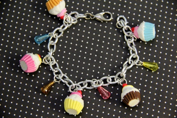Cherry On Top Multicolor Cupcake Charm Bracelet
