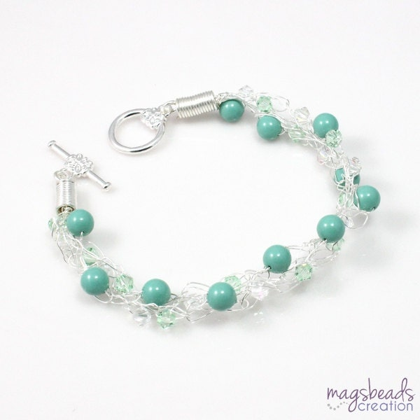 Wire Crochet Jewelry, Light Green Shade Pearl and Crystal, Bridesmaid Bracelets, Bridal Bracelet, Wedding Jewelry, Under 50 Dollars - magsbeadscreation