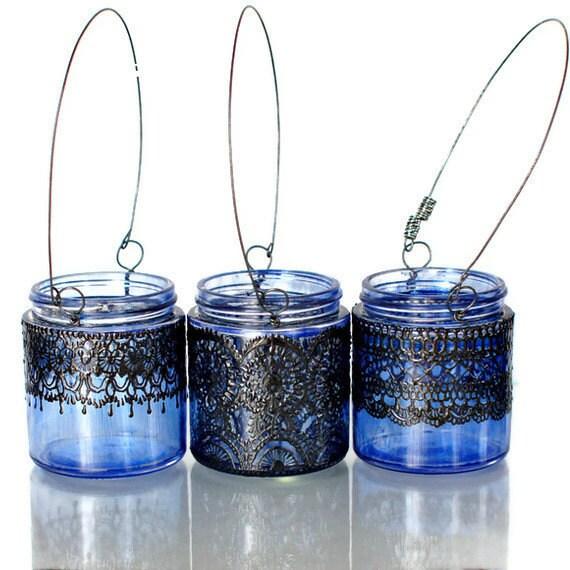 3 Малый марокканской Inspired фонари свечи, аметист Тонированные стекла с черными вставками