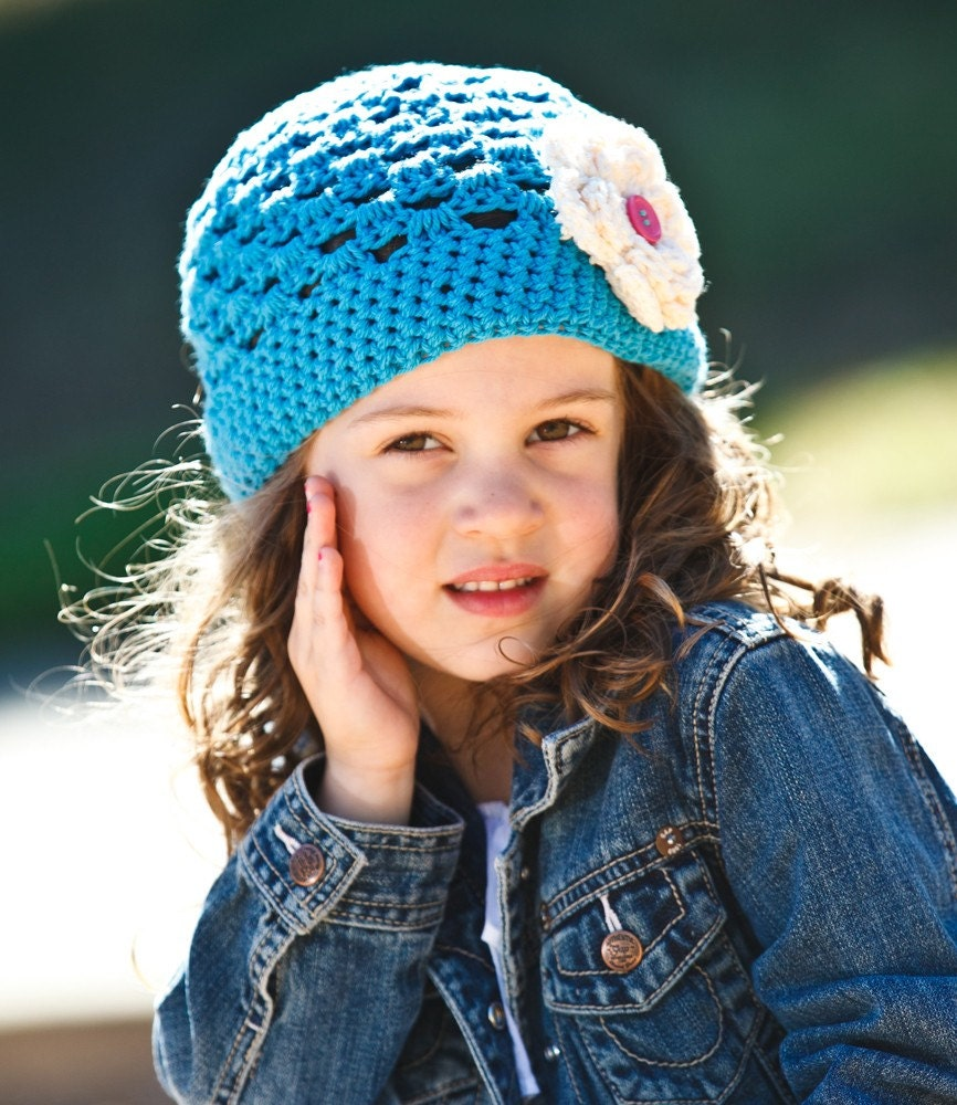 Girl's Hot Blue Beanie Hat with Cream Flower and Pink Button - Available in all sizes - SALE
