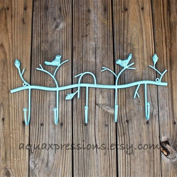Metal Wall Hook /Aqua Bird/ Shabby Chic Decor by AquaXpressions