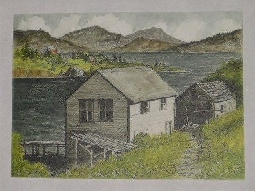 Norwegian Boathouse Watercolor by Carla Garloff Treasury Item