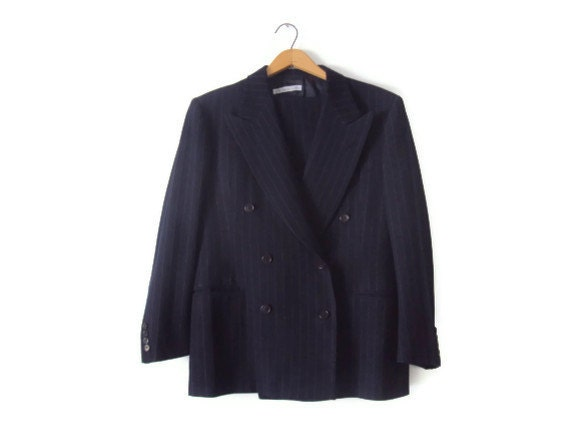 Vintage 1940's Men's Pinstripe Suit, Double Breasted Suit, Navy Blue, By Timely Clothes, Mad Men Style, Chest 46, Waist 32 X 40, MINT - YesterdaysSilhouette