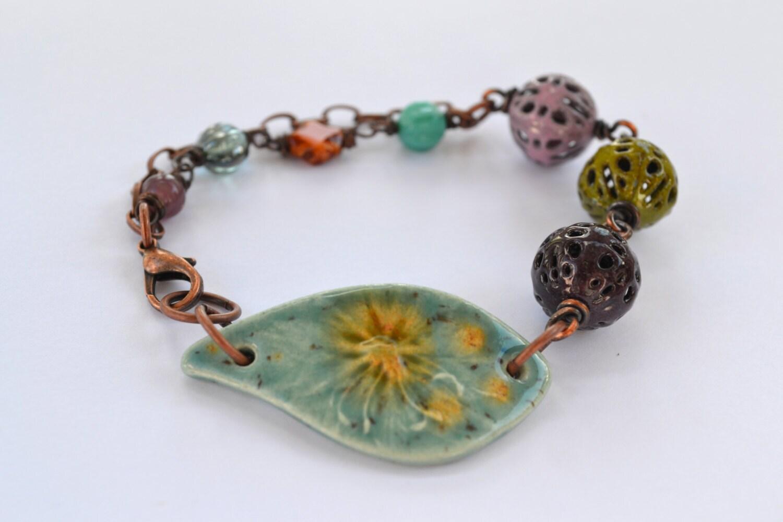 Springs Colors Bracelet - wire wrapped bracelet, enamel beads - ArtIncendi