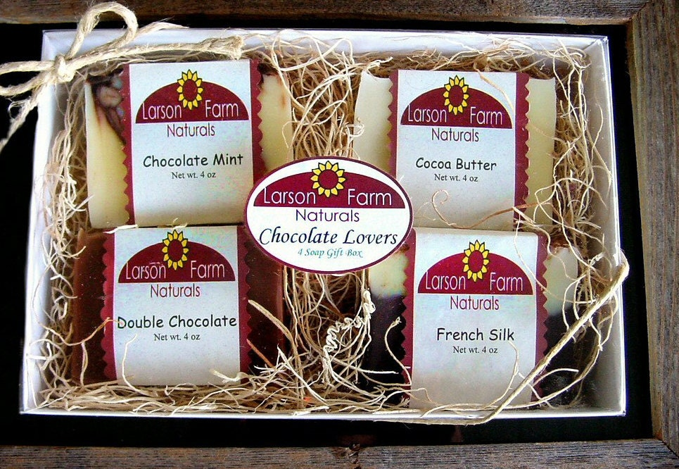 Handmade soap, Chocolate soap GIFT SET Box  Natural pure soap--4 Gourmet Varieties- mmmmmm so good