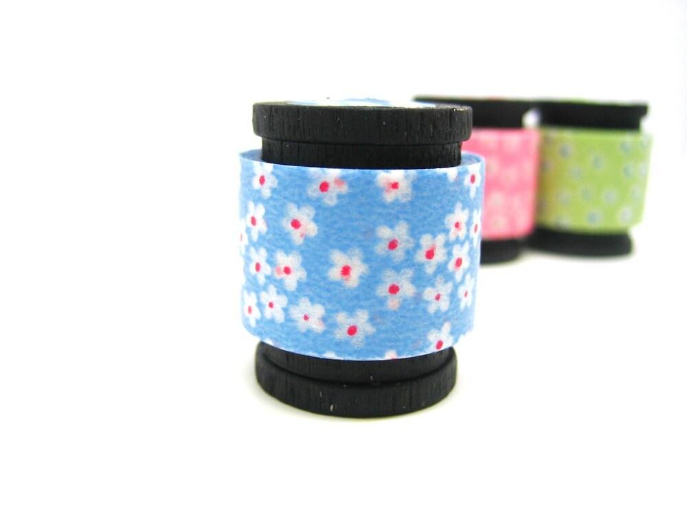 Japanese Washi Masking Deco Tape: White Daisies on Blue