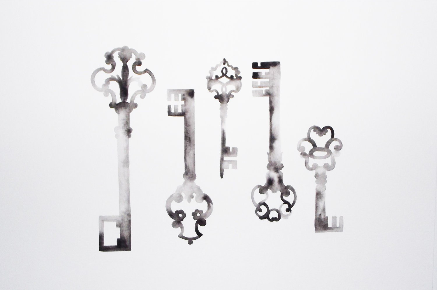 Custom Listing for Licky - Skeleton Keys Collection IV - Original Watercolor - GeometricInk