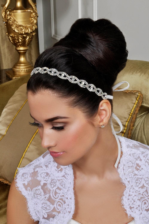 Bridal Headband - Beautiful Wedding Tiara - Crystals and Ribbon