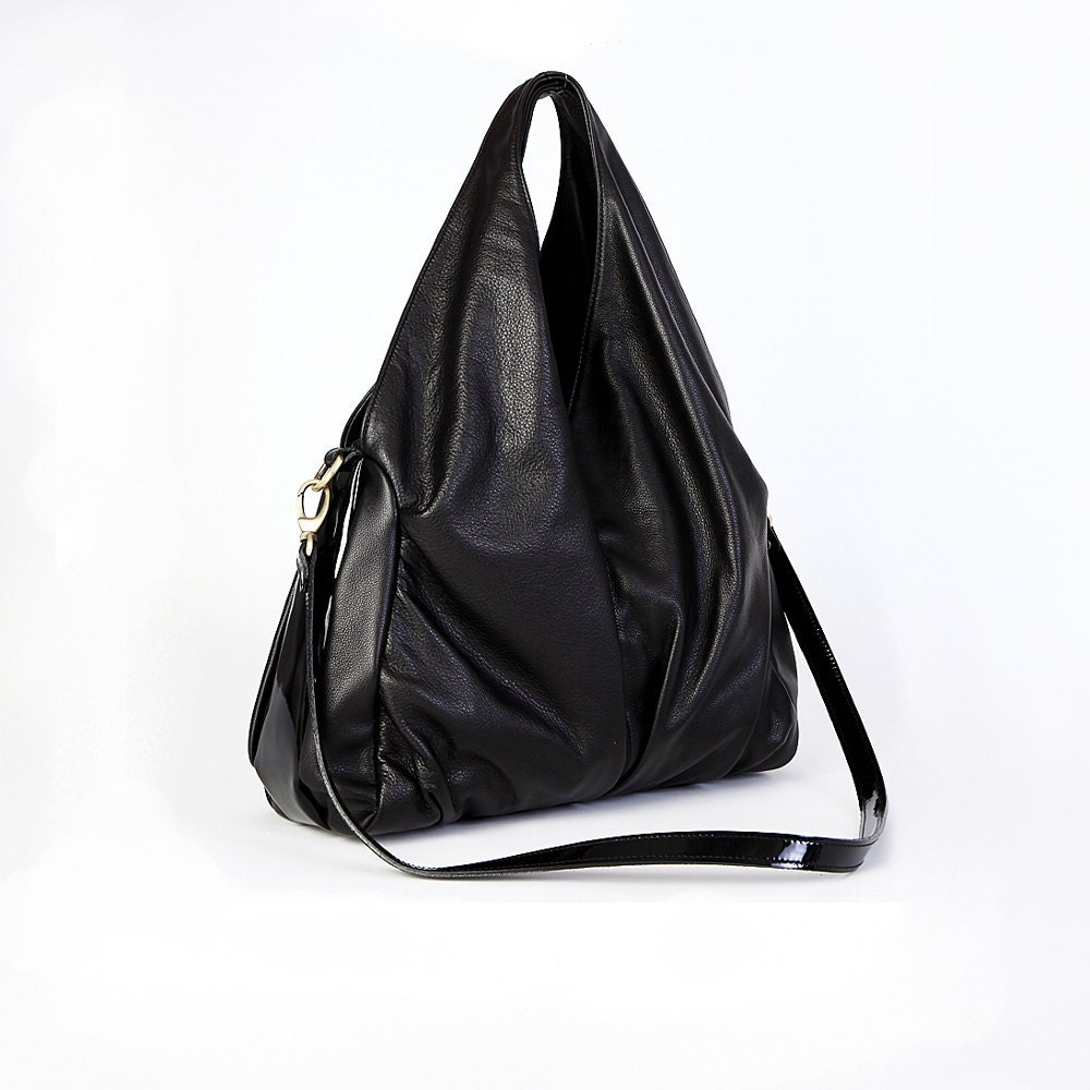 Black Leather Shoulder Bag Hobo Bag Messenger Bag Everyday Bag Multifunctional Leather bag - RenaBags