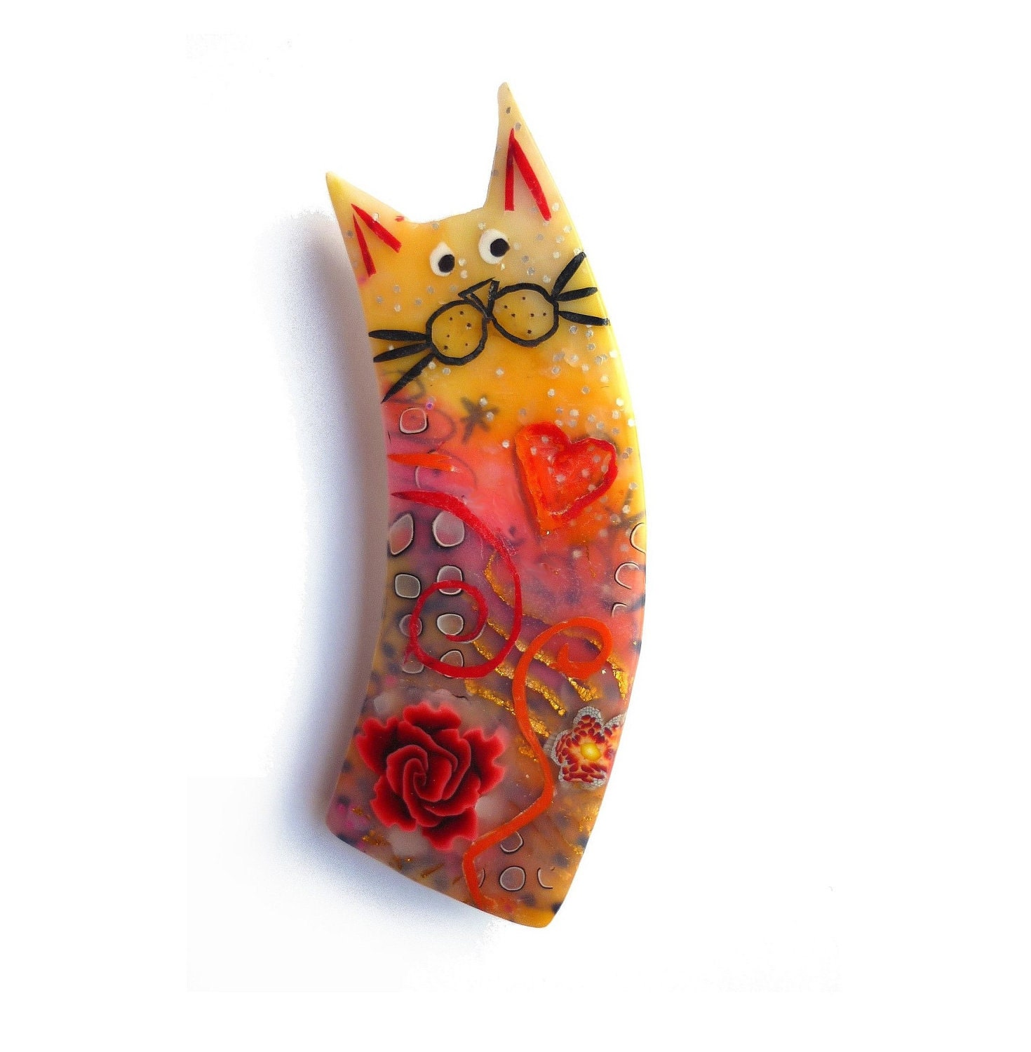 Cat brooch ELISA - Unique Art Brooch - polymer clay kitty, orange yellow red, chat - OOAK - Chifonie