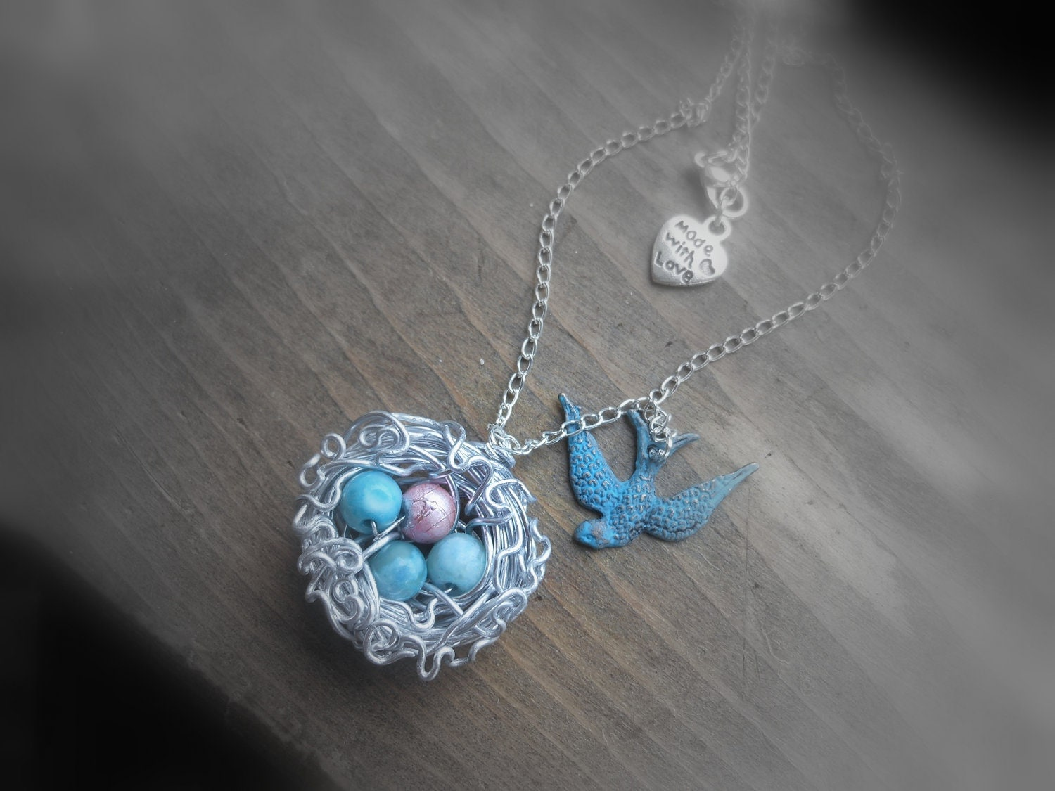 Blue Bird, Momma bird necklace, Fully customizable, including birthstone eggs