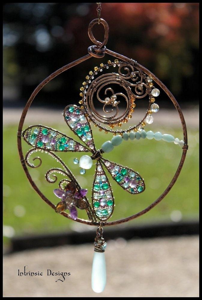 Multi Gemstone and Wire Dragonfly Suncatcher with Sea Foam Chalcedony Drop