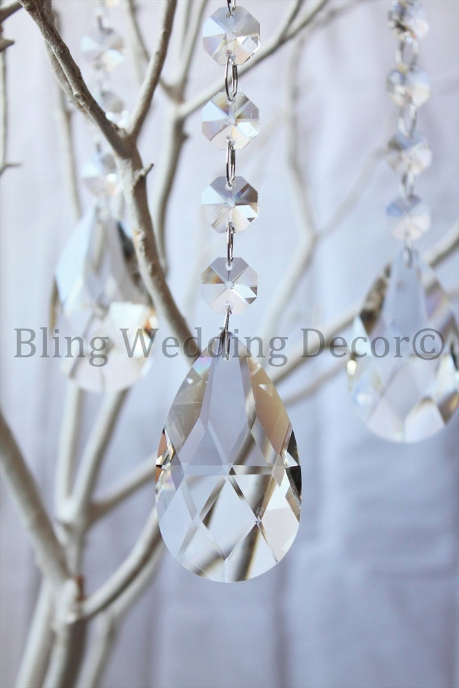 6 Hanging Chandelier Wedding Centerpiece Decorations 63mm Crystals LOT 5