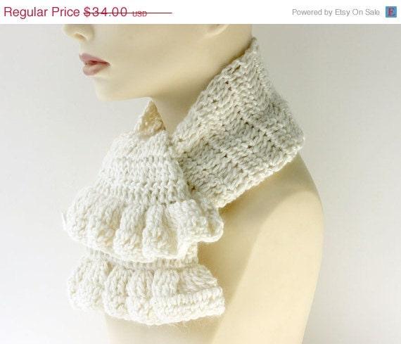 White Crochet Scarf, Ruffled Scarf, Angora Bamboo Ruffle Scarf - beadedwire