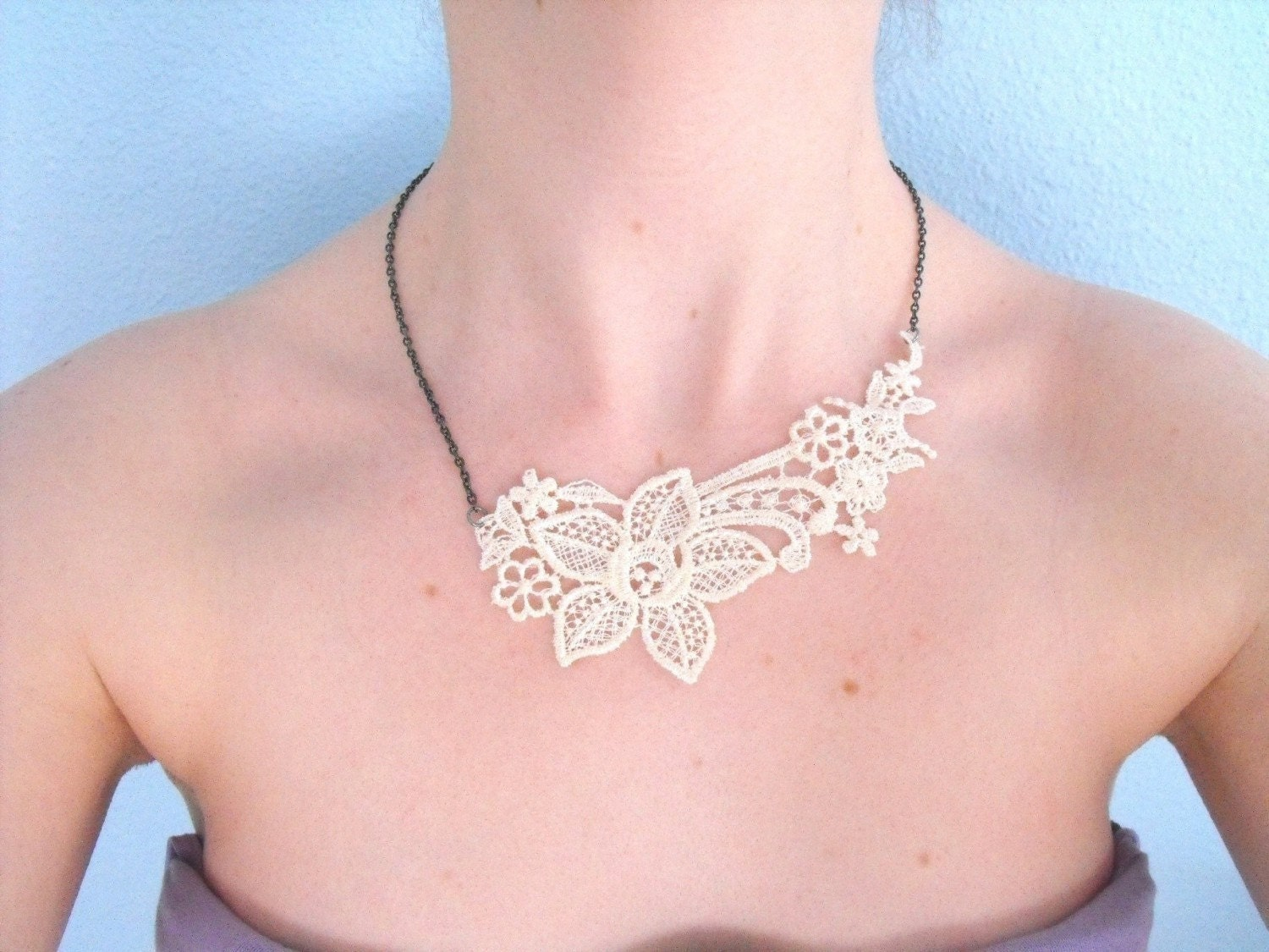 Necklace- Ivory Lace with Brass Chain