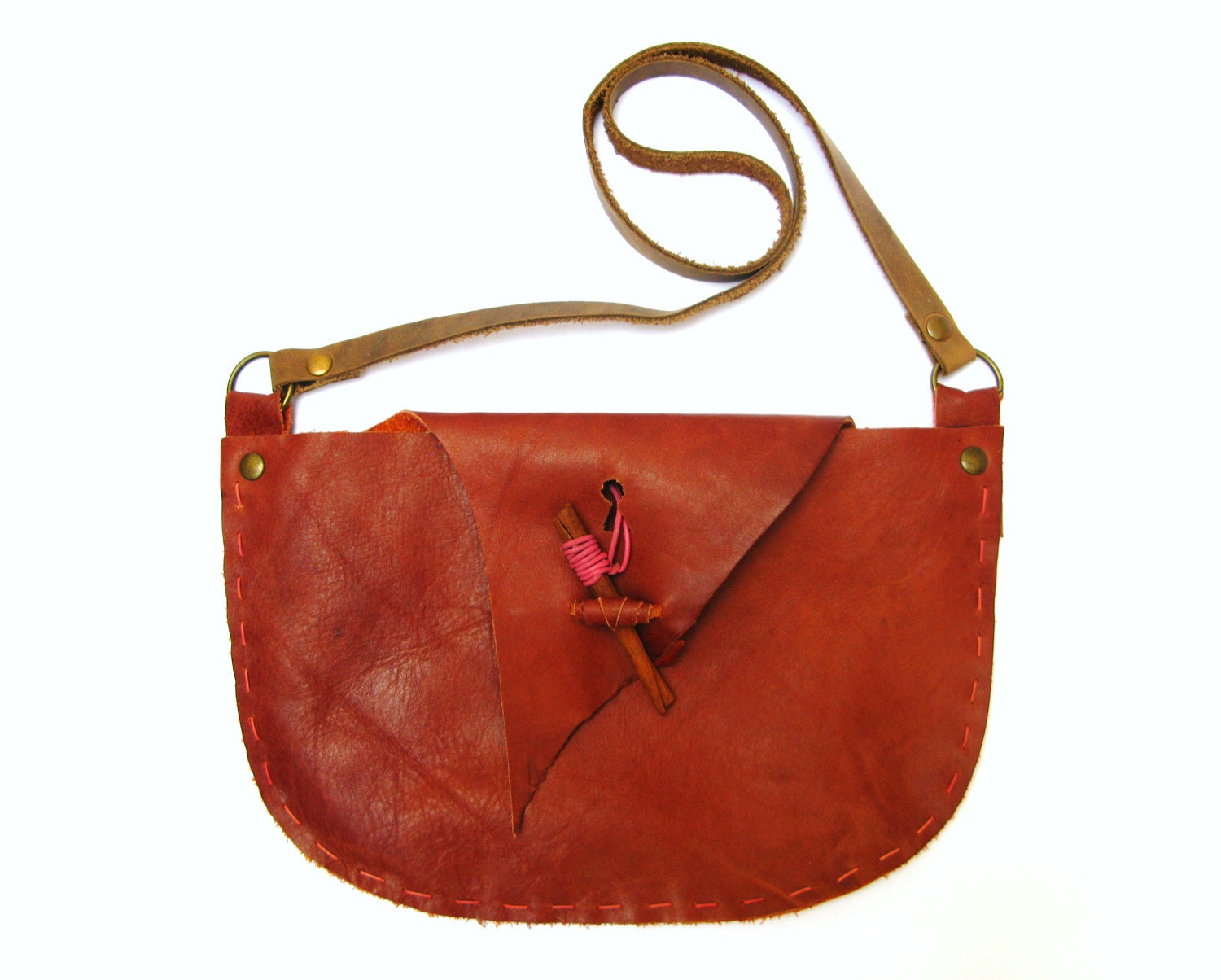 Autumn Fall, Hand Stitched Shoulder Bag Purse in Rusty Orange Leather with Cinnamon Stick Closure,OOAK - askidas