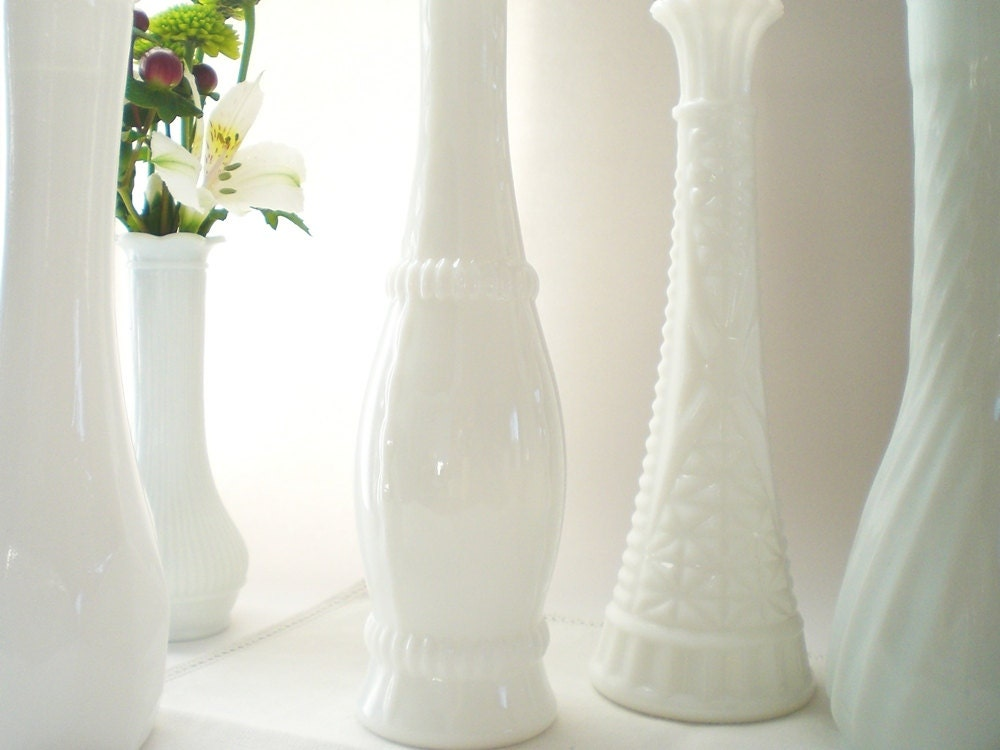 White Bud Vase Collection, Shabby Chic Milk Glass DIY Wedding Table Settings