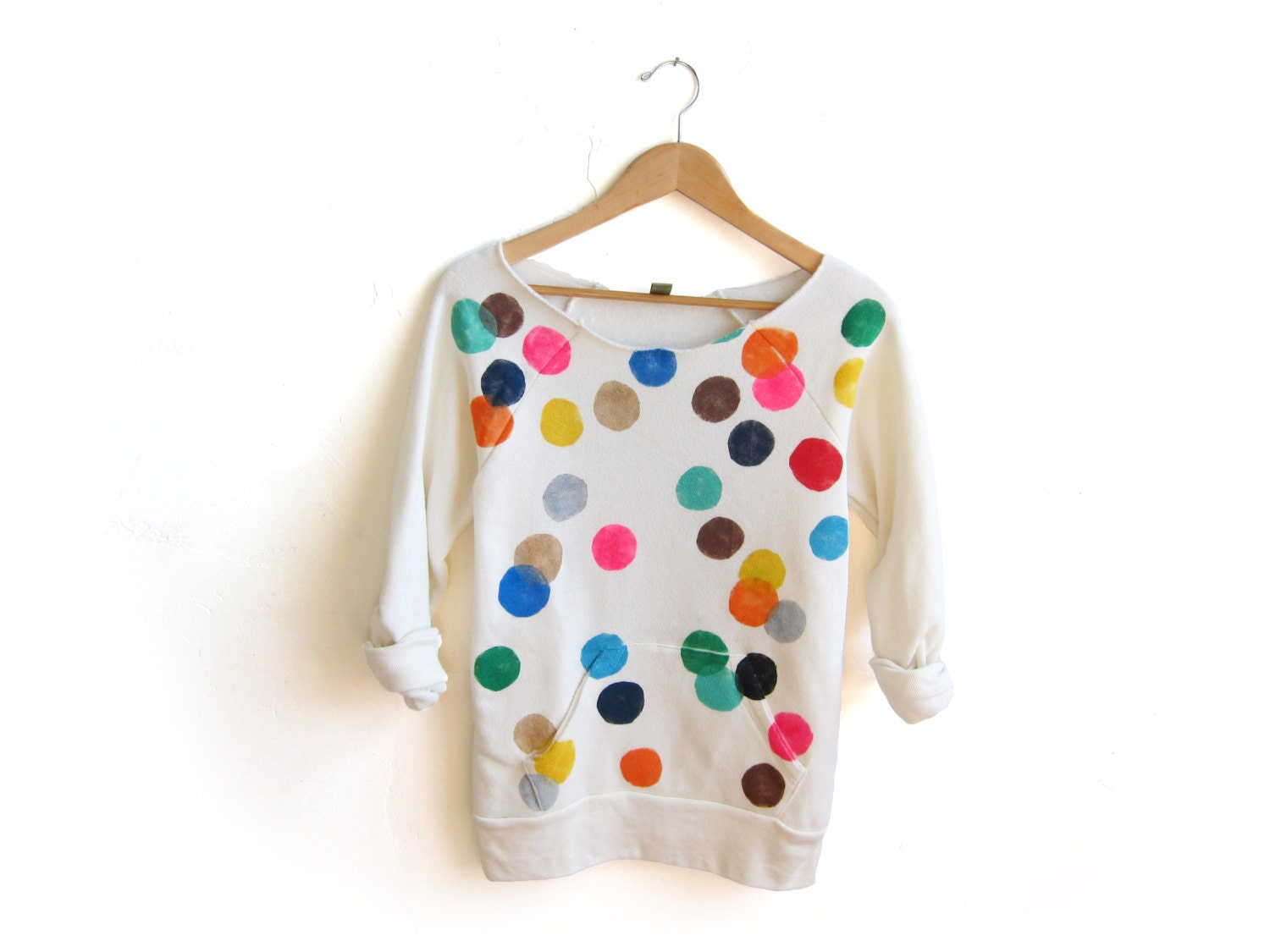 Colorful Confetti Hand STENCILED Deep Scoop Neck Heather Sweatshirt in Cream Multi Rainbow - S M L XL 2XL 3XL - twostringjane