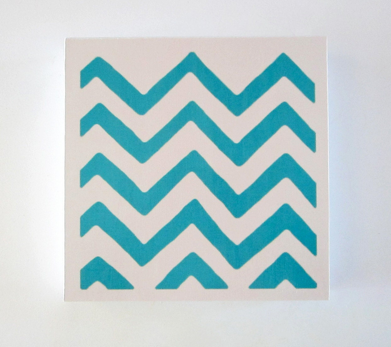 Chevron 4 Blue Turquoise Aqua 8x8 art block on wood block geometric pattern modern redtilestudio