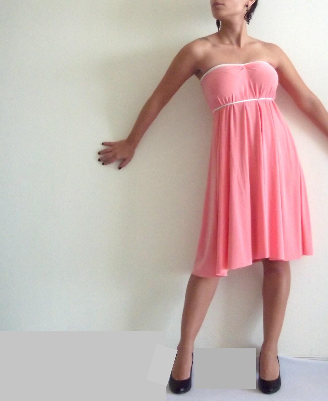 Strapless Mini Dress- Classic loose strapless peachy pink mini dress, ON SALE DRESS