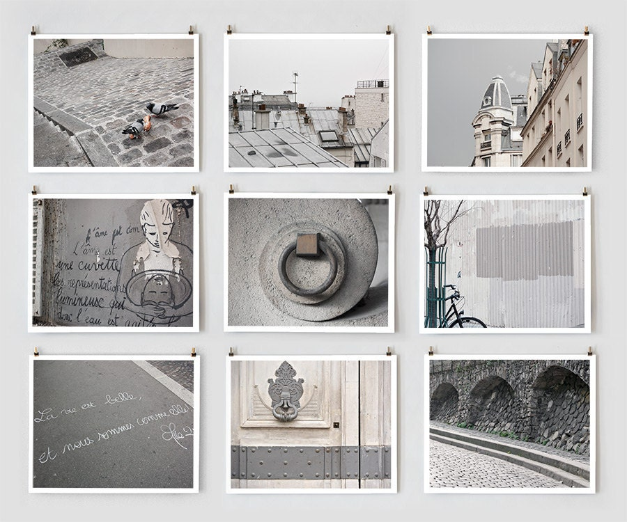 19 Collection Of Purple And Grey Wall Art: Items Similar To Paris Photography Collection, Gray Large