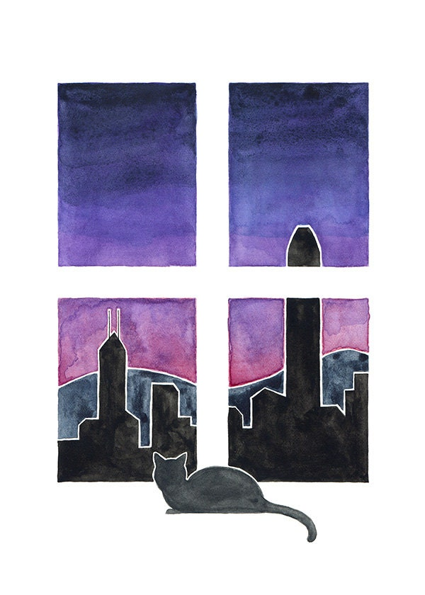 Cat Art - Cat in Hong Kong - from cats around the world series - Hong Kong Skyline - 5x7 Watercolor Print - millersye