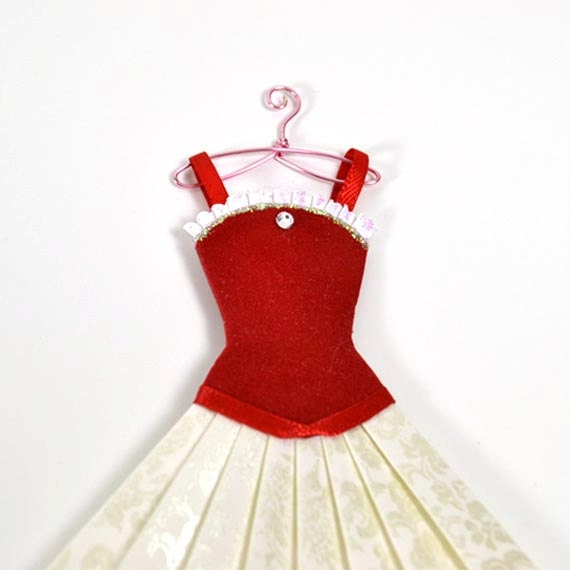 Valentines Day Red Paper Dress with Miniature Wire Hanger