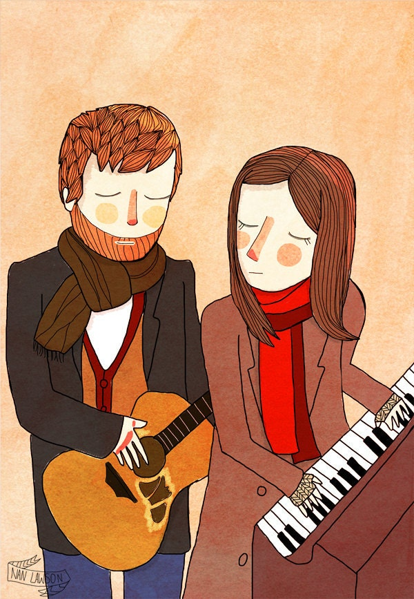 Falling Slowly  - 5 x 7 Illustration Print