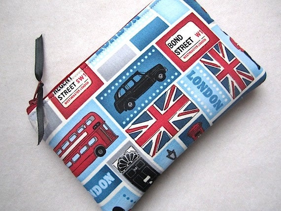 Zip Pouch Gadget Purse Coin Padded- Love LONDON trolley cars flags - Blue White Red Gray Black