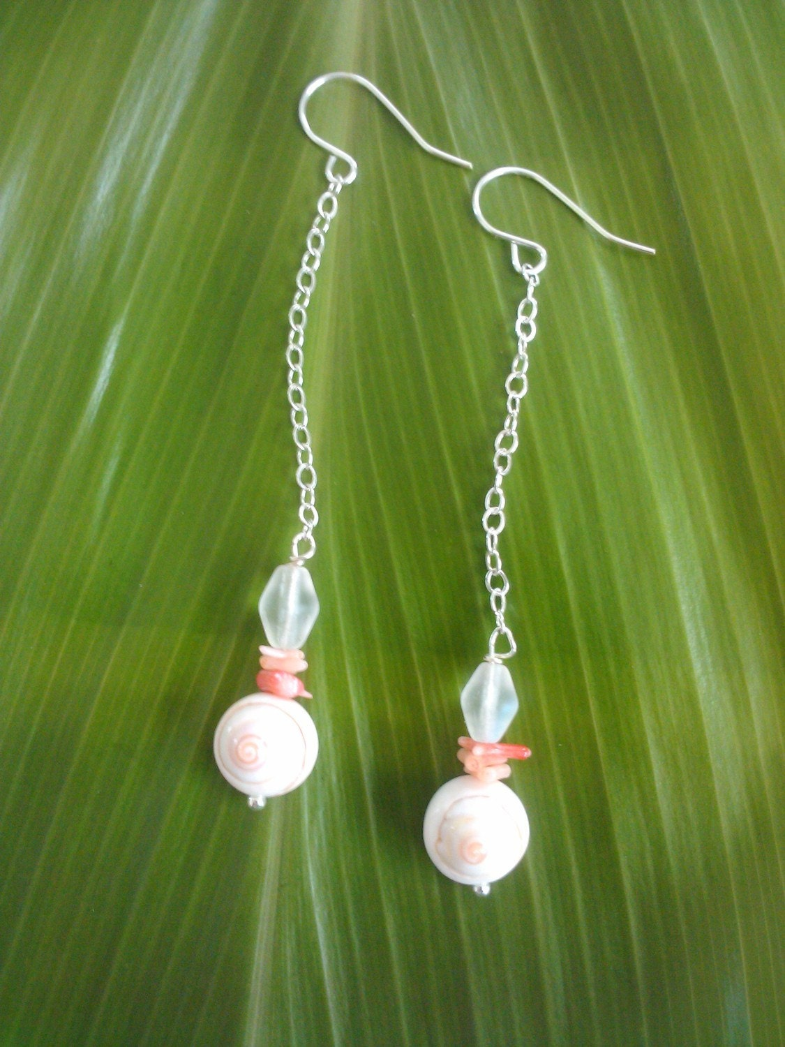 Seven Seas Dangle - all sterling silver w/ seashells, coral & glass beads