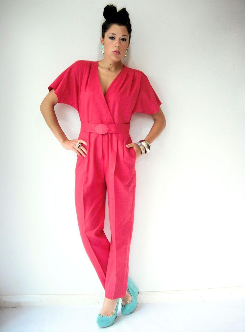 Salmon Pink 80's Vintage Jumpsuit / Wrap Deep V Bodice / Straight Leg Pants