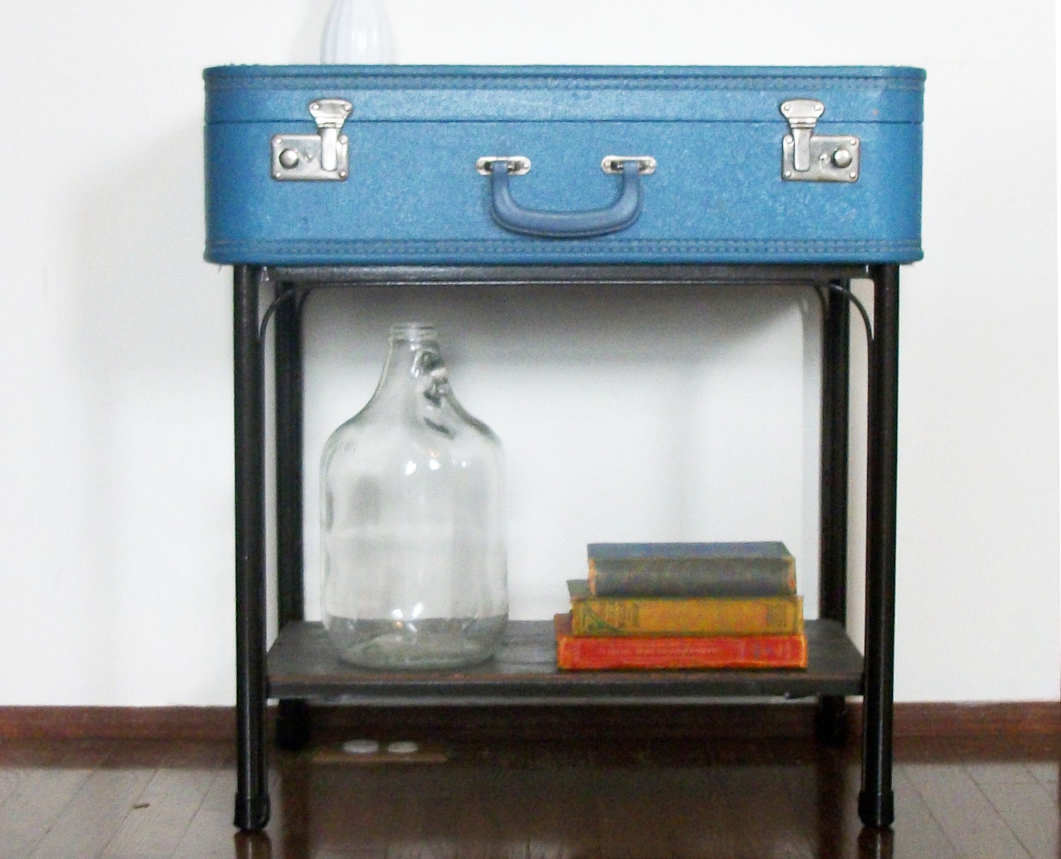Handmade Blue Suitcase Side End Table with Storage Shelf