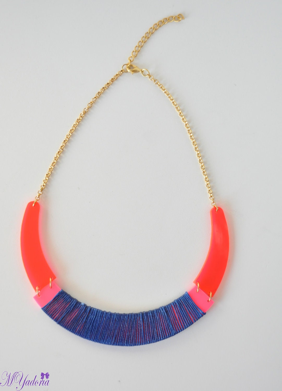 Neon transparent acrylic plexiglass necklace - MYadoria