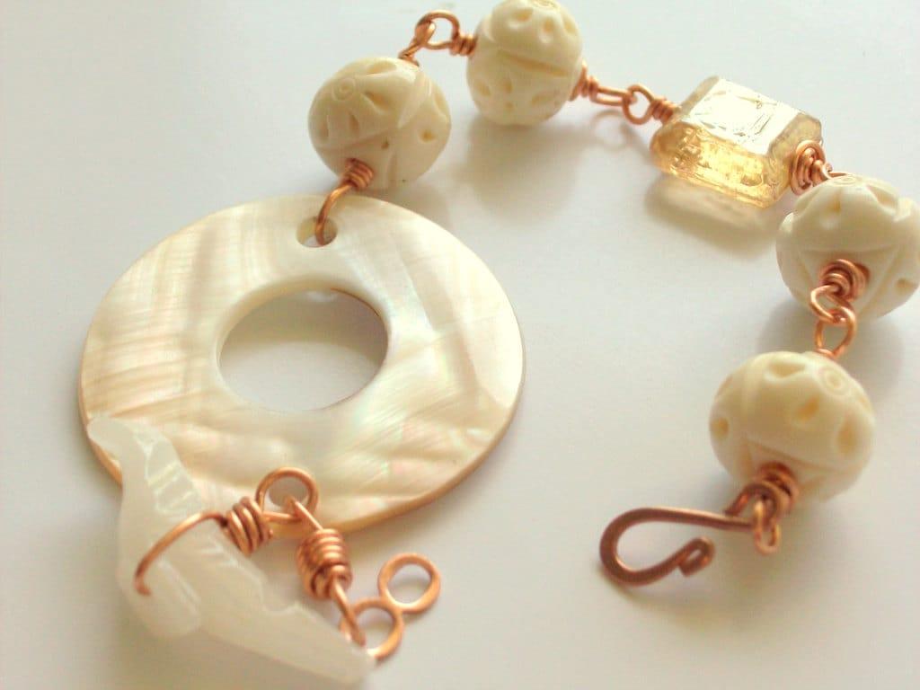 Love Bird, Mother of Pearl, Onyx, Bone & Copper Bracelet - Bohemian - Beach - Wedding - stoneandbone