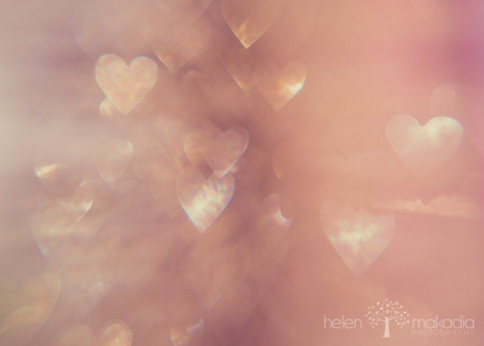 Fine Art Abstract Photograph. My Still Heart. Sparkle. Pinks and Creams. Romantic. Heart Bokeh. 5x7 Print - HelenMPhotography