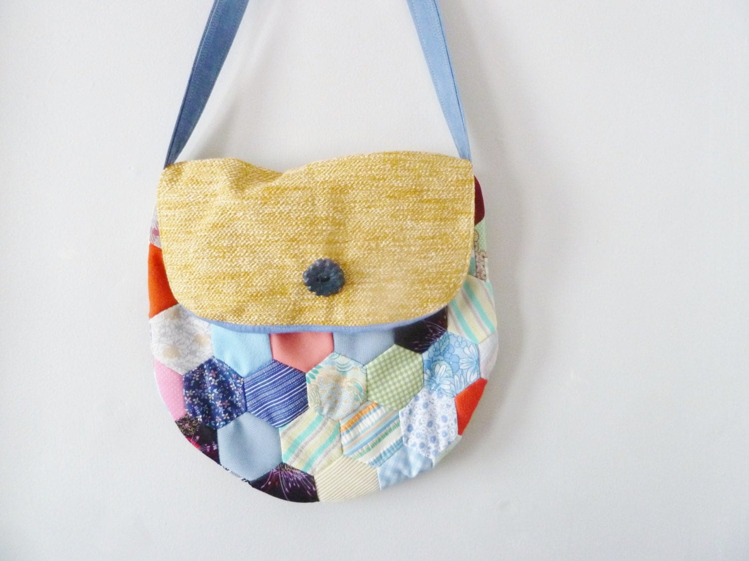 the hex quilt, marigold flap front, button bag ... vintage fabric, eco-friendly, crossbody bag. - sweetanddirtys