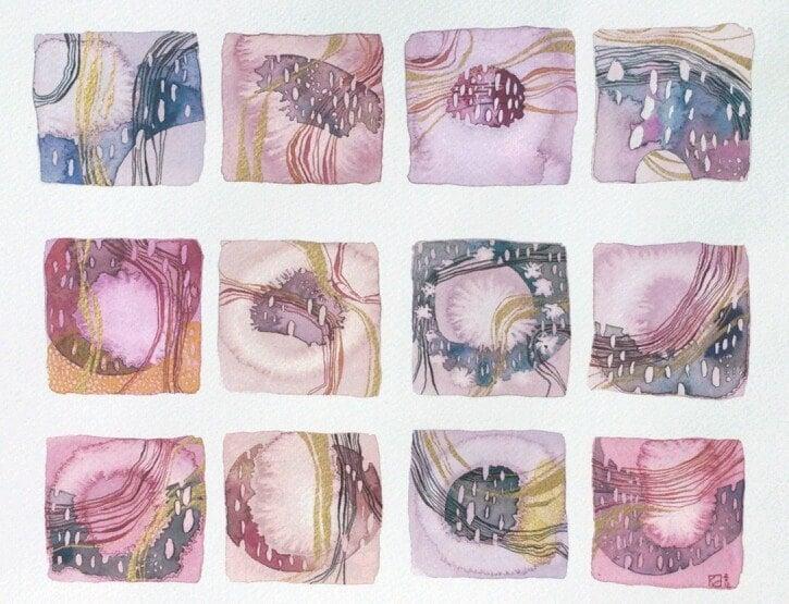 flow squares (original watercolor) - ValeriaKondor