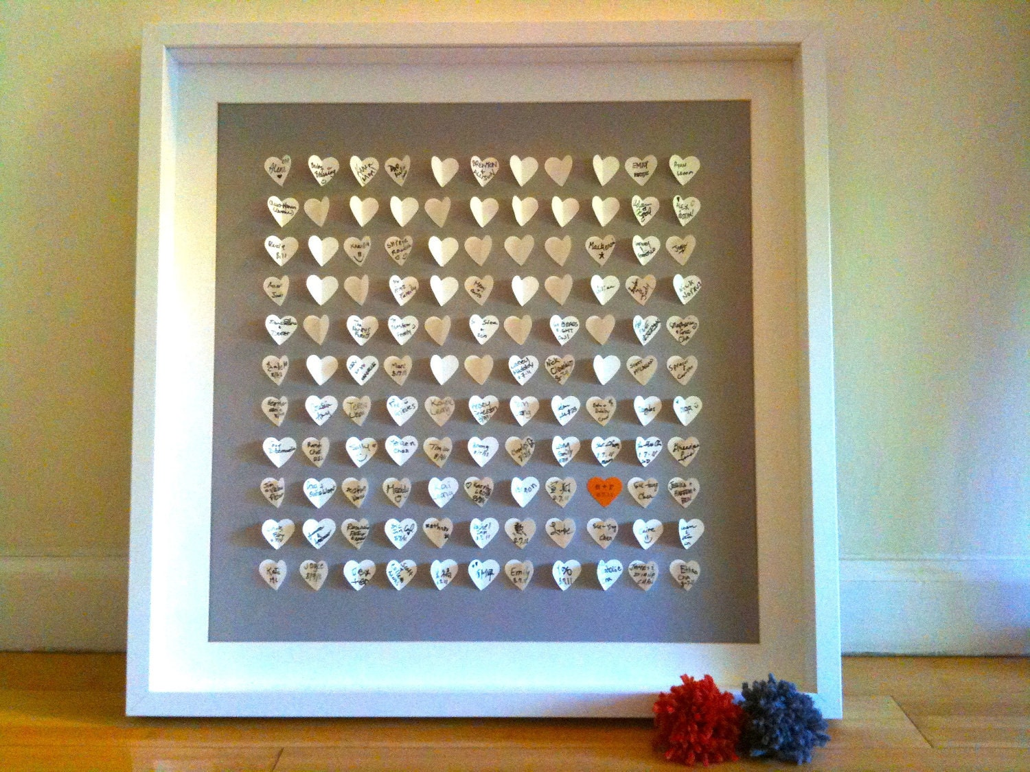 Wedding Guest Book Alternative - Personalized 3D Wedding Hearts - MEDIUM (includes frame, instruction card and two pens)