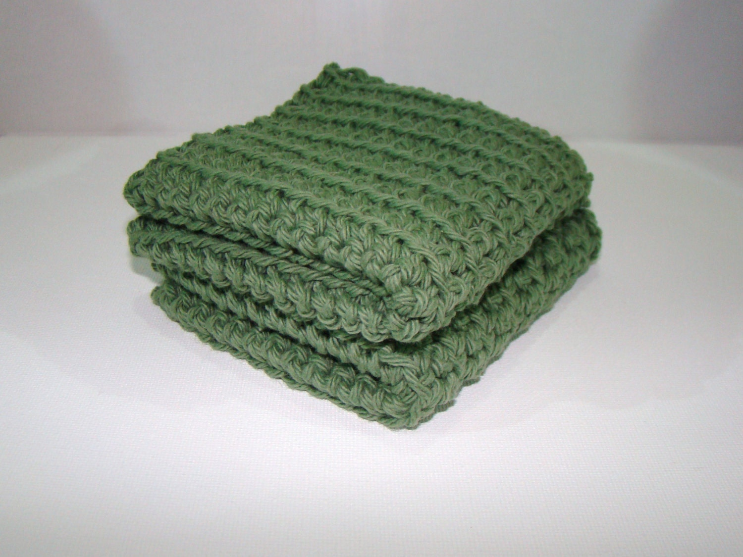 Wash Cloths Crochet Set of Two Sage Green - CreativeEndeavorsKS