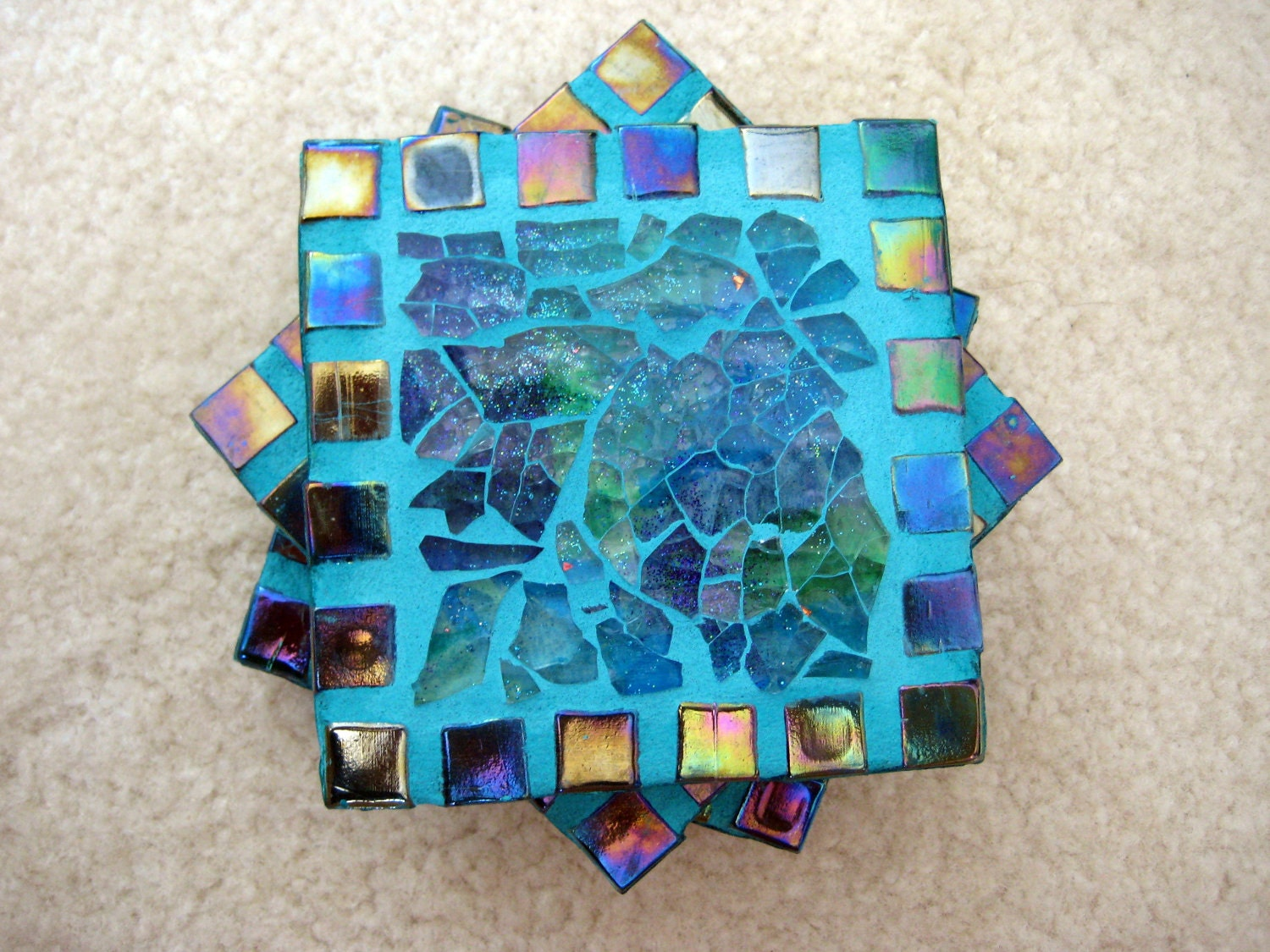 Blue/green rainbow tile coasters (set of 4)