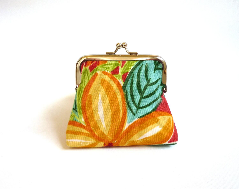Tropical blooms small purse fresh summer retro kisslock red teal yellow citrus mustard pineapple jungle paradise - maplemist