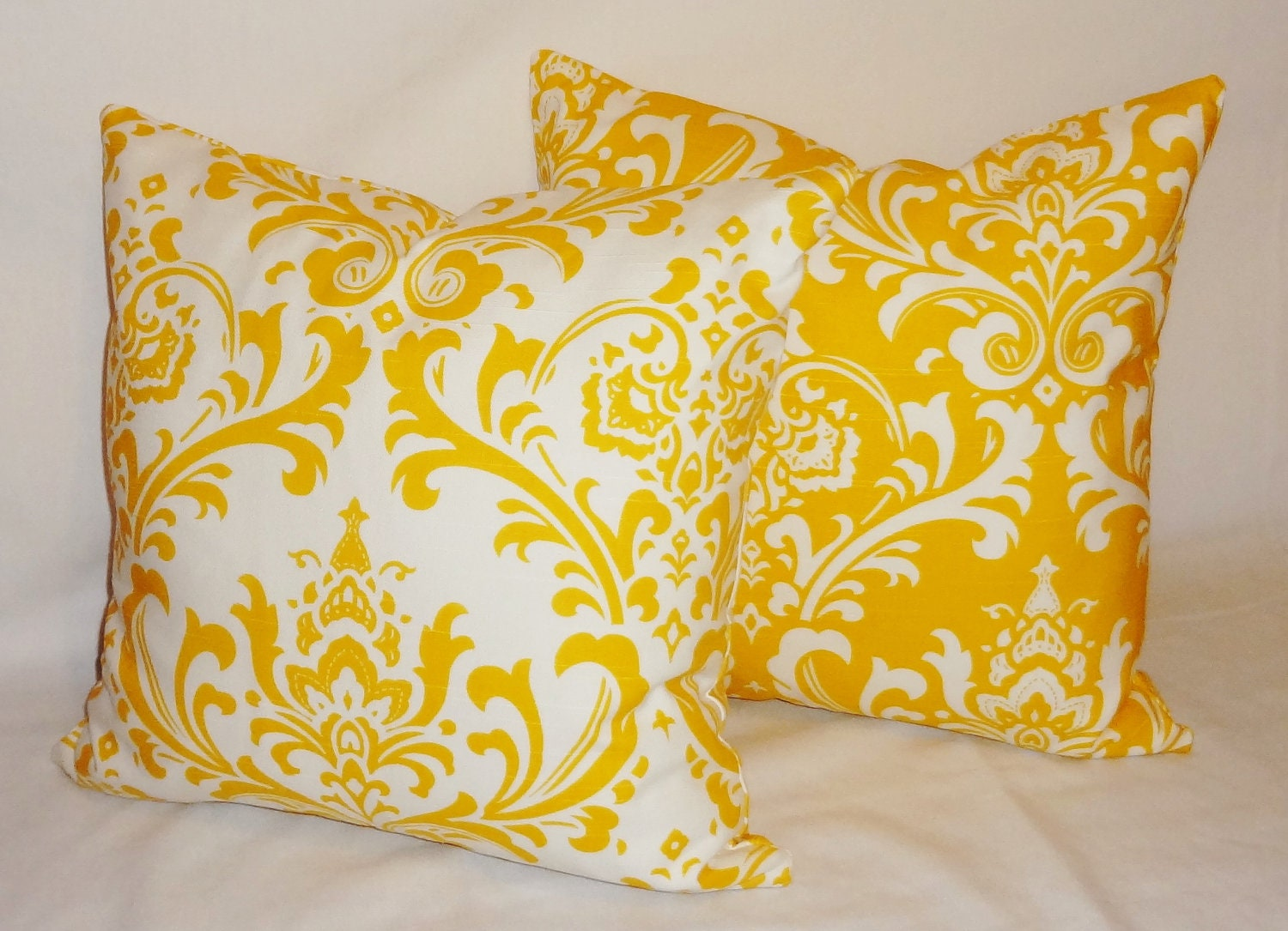 Two Decorative Pillows Corn Yellow/White Damask by HomeLiving