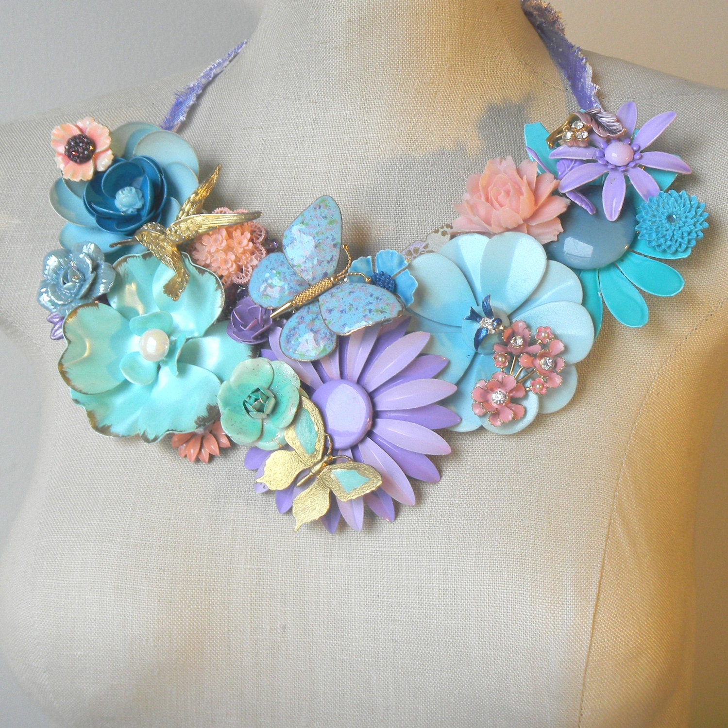 Spring Flower Necklace  Collage Vintage brooch Bib Pastels Springtime Garden lavender Pink Aquamarine Statement Blue Butterfly Hummingbird - FiorellaJewelry