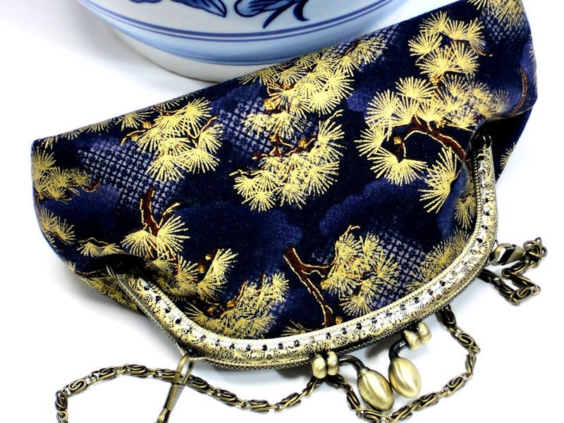 Clutch Purse w Chain Handmade Fabric Clutch with Gold Asian Pine Trees on Navy at WhiteCross MeiMei by WhiteCross Designs