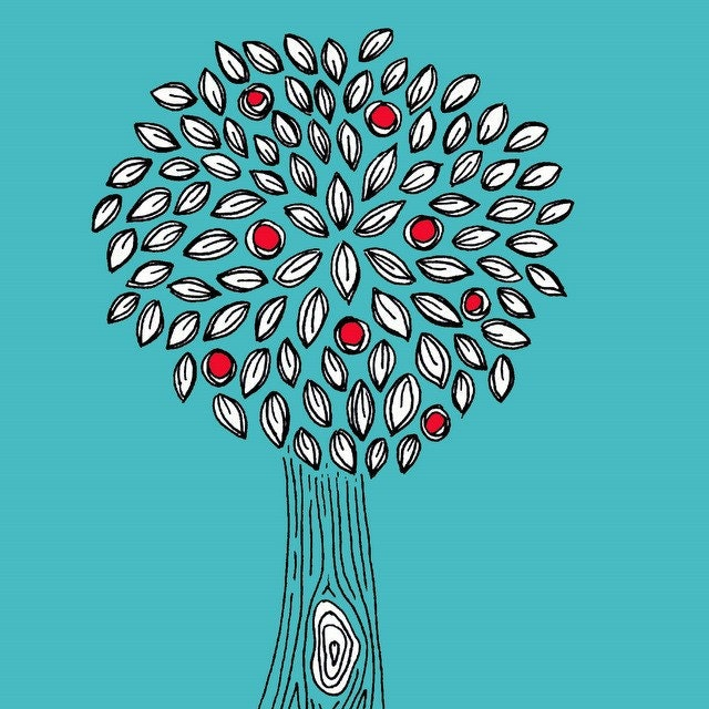 Turquoise, Red, Black and White Apple Tree  - 5X7 Art Print - blockpartyprints