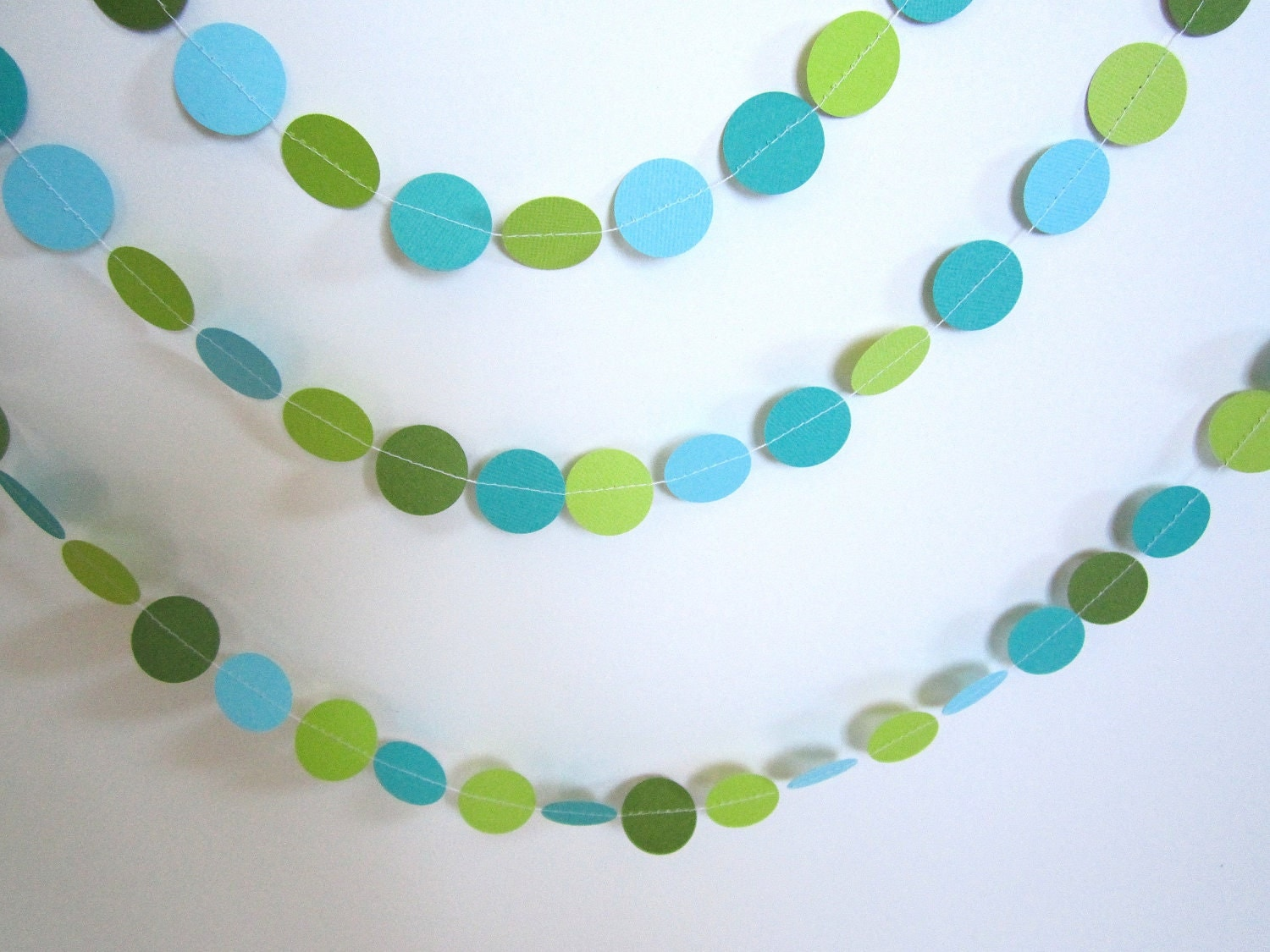 Christmas Decor, Garland, Christmas Tree Garland, Green, Blue, Turquoise - Ferrever