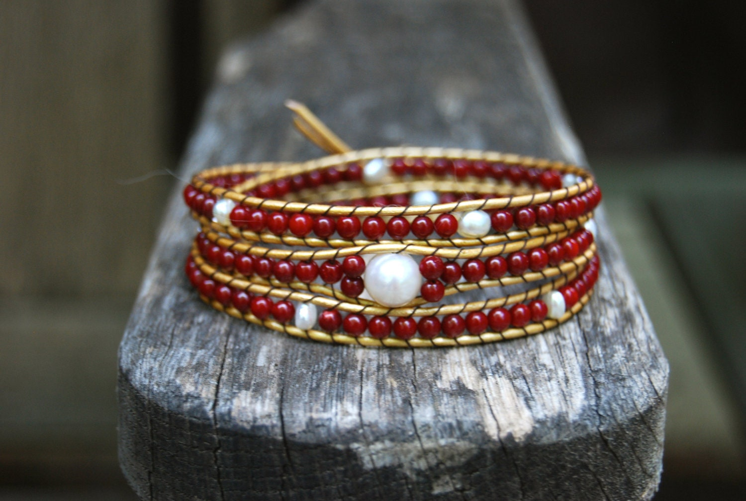 Gold Wrapped Leather Bracelet with Freshwater Pearls, Red Coral & Vintage Button - Boho Stackable Triple Wrap, White Pearl, Crimson Headband - MixNPatch