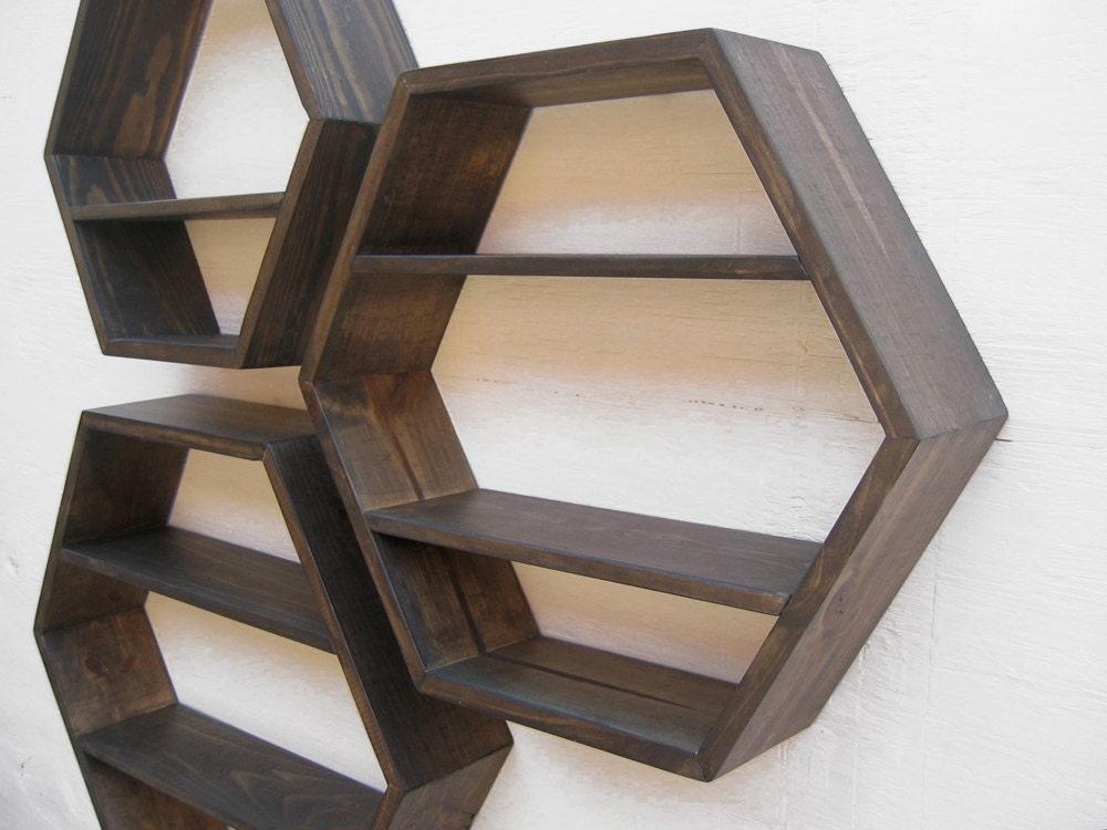 Deep Brown Hexagonal Shelf - size MEDIUM
