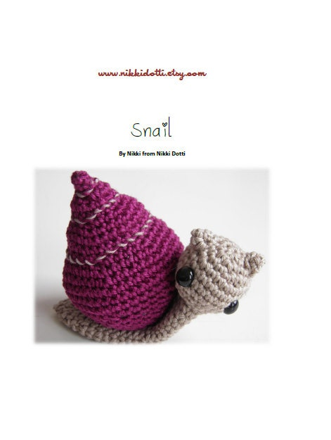 Crochet pattern PDF Amigurumi - Snail - NikkiDotti