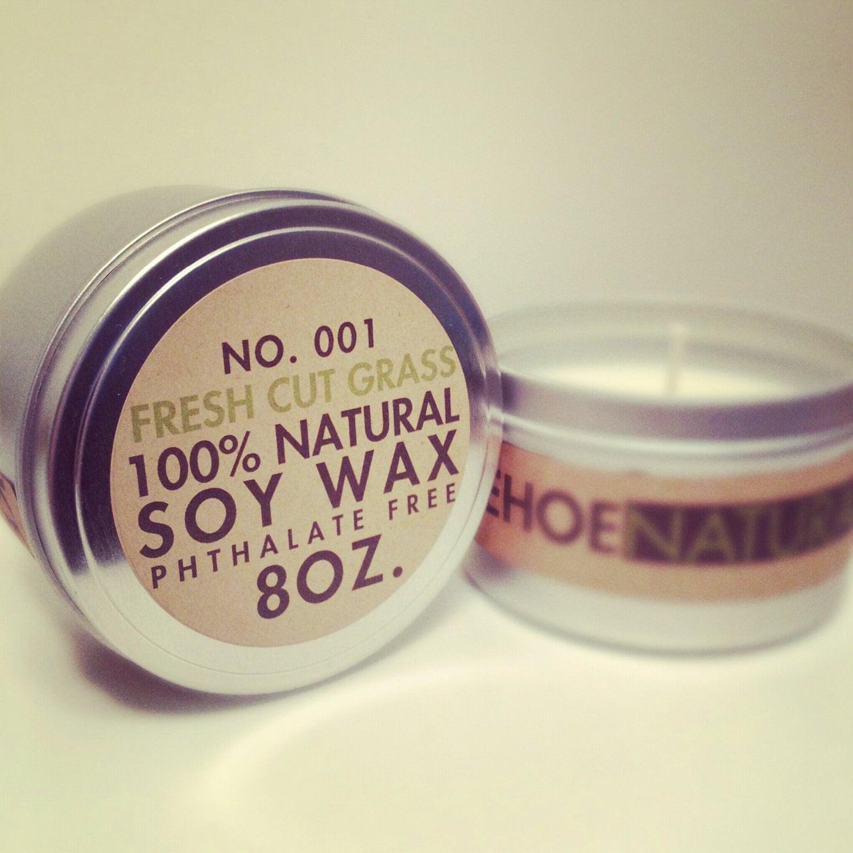 No. 1 Fresh Cut Grass  -  8oz.tin  -  Natural Soy Candle - KehoeNaturals